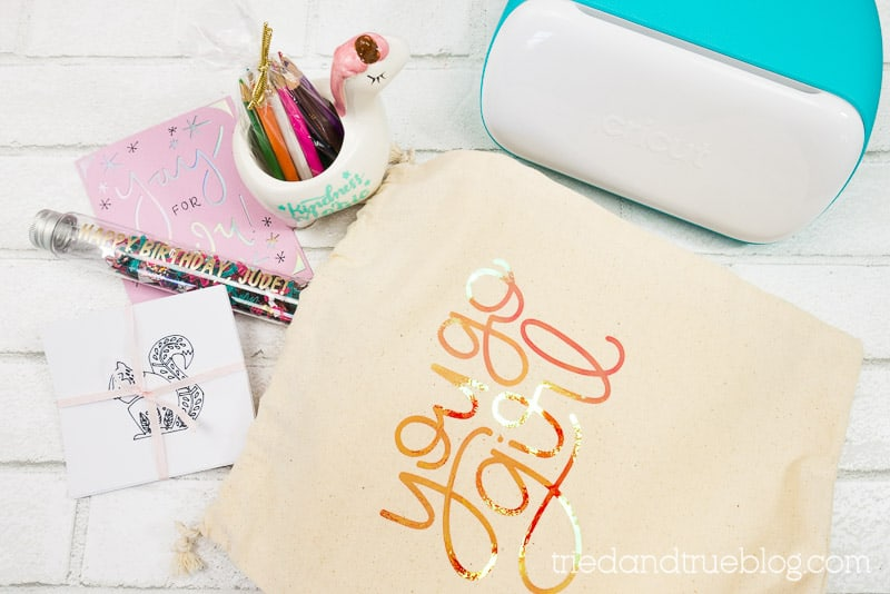 Five easy birthday gifts made with Cricut Joy. Image includes a gift bag with