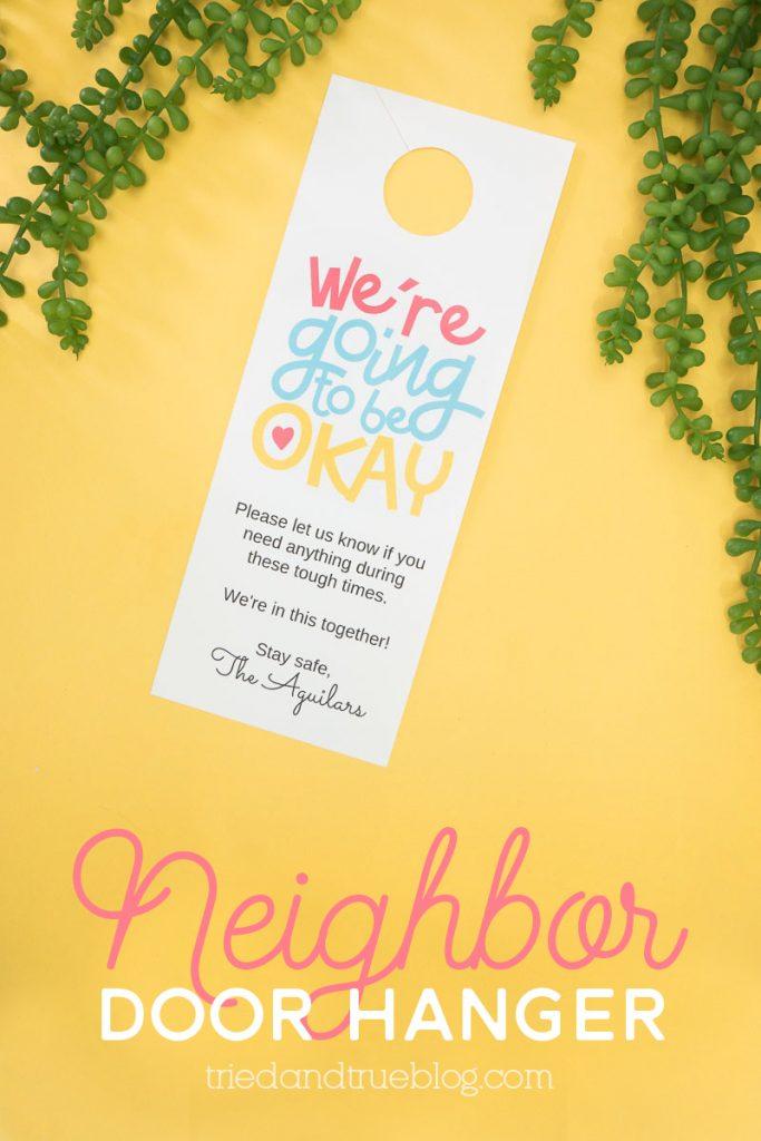 """We're Okay"" Neighbor Door Hanger on a yellow background."