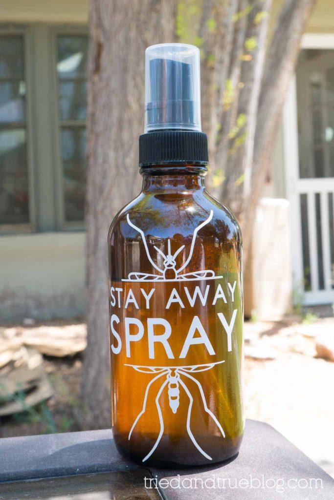 Amber bottle with vinyl wording,