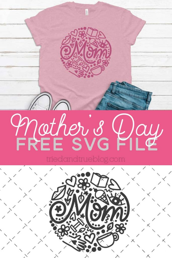 Image of tshirt with the Mother's Day Circle free svg.