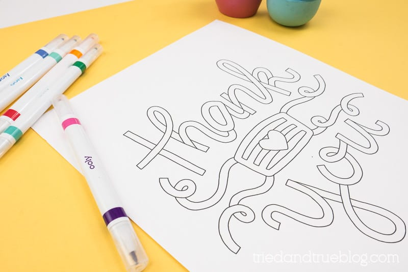 Close up of the Thank You Essentials Coloring Page.