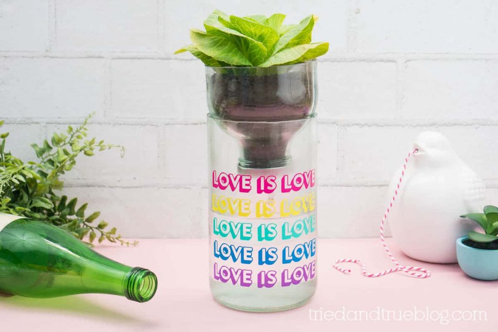Recycled Self Watering Planter with the words