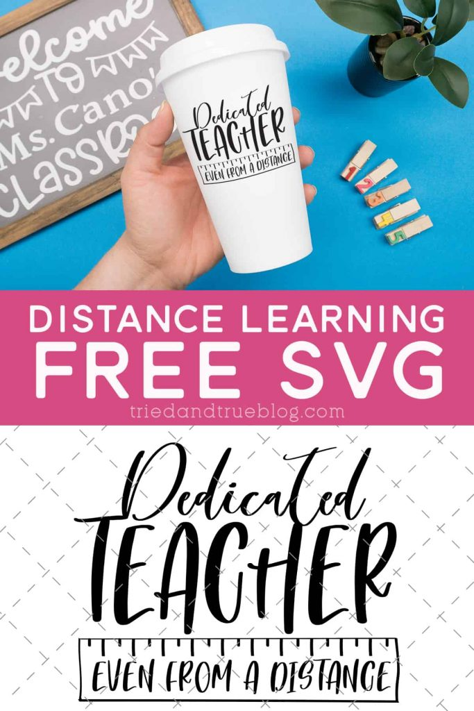 Image of hand holding the Distance Learning Teacher Free SVG.