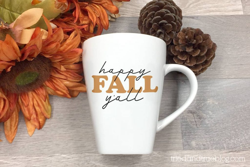 Happy Fall Y'all free svg on a white mug.