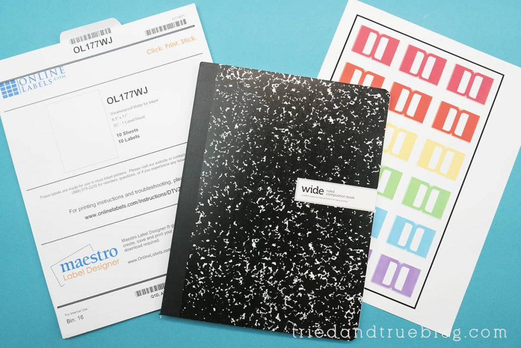 Image of supplies needed to make planner tabs with Cricut.