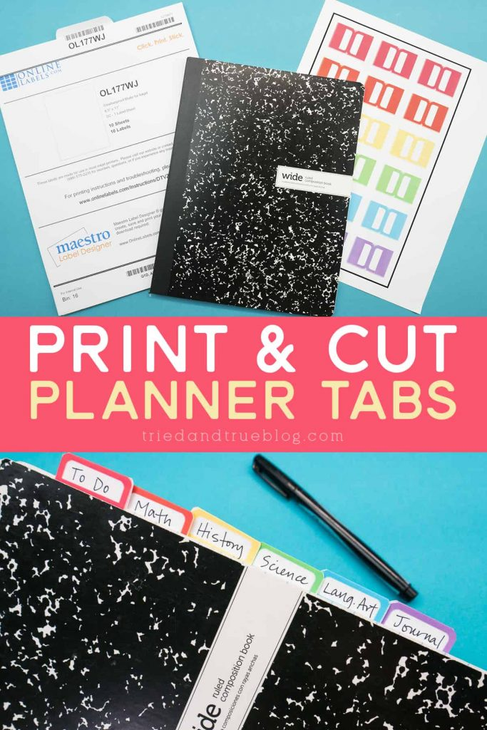 Image of supplies needed to make planner tabs with Cricut and finished product.