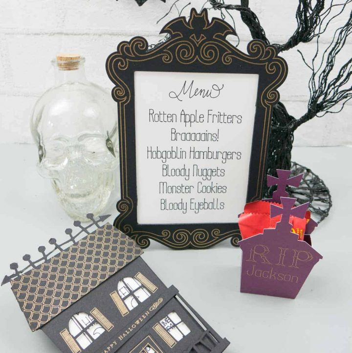 Three Halloween projects made with Cricut Foil Kit: haunted house invite, menu frame, and gravestone placeholder/favor