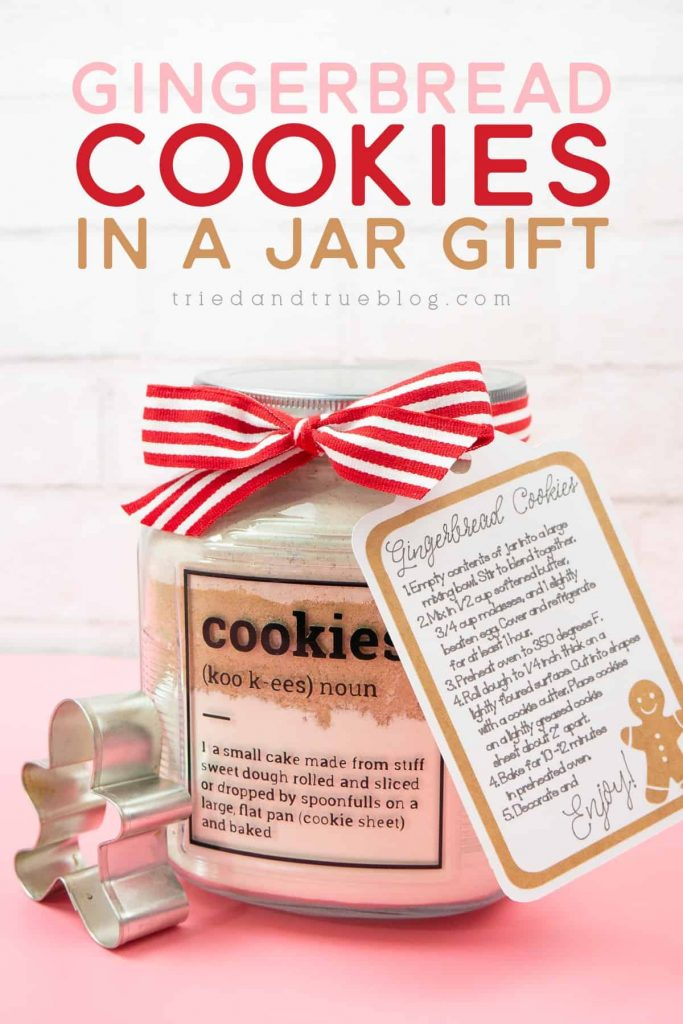 Gingerbread Cookies In a Jar Holiday Gift on pink background