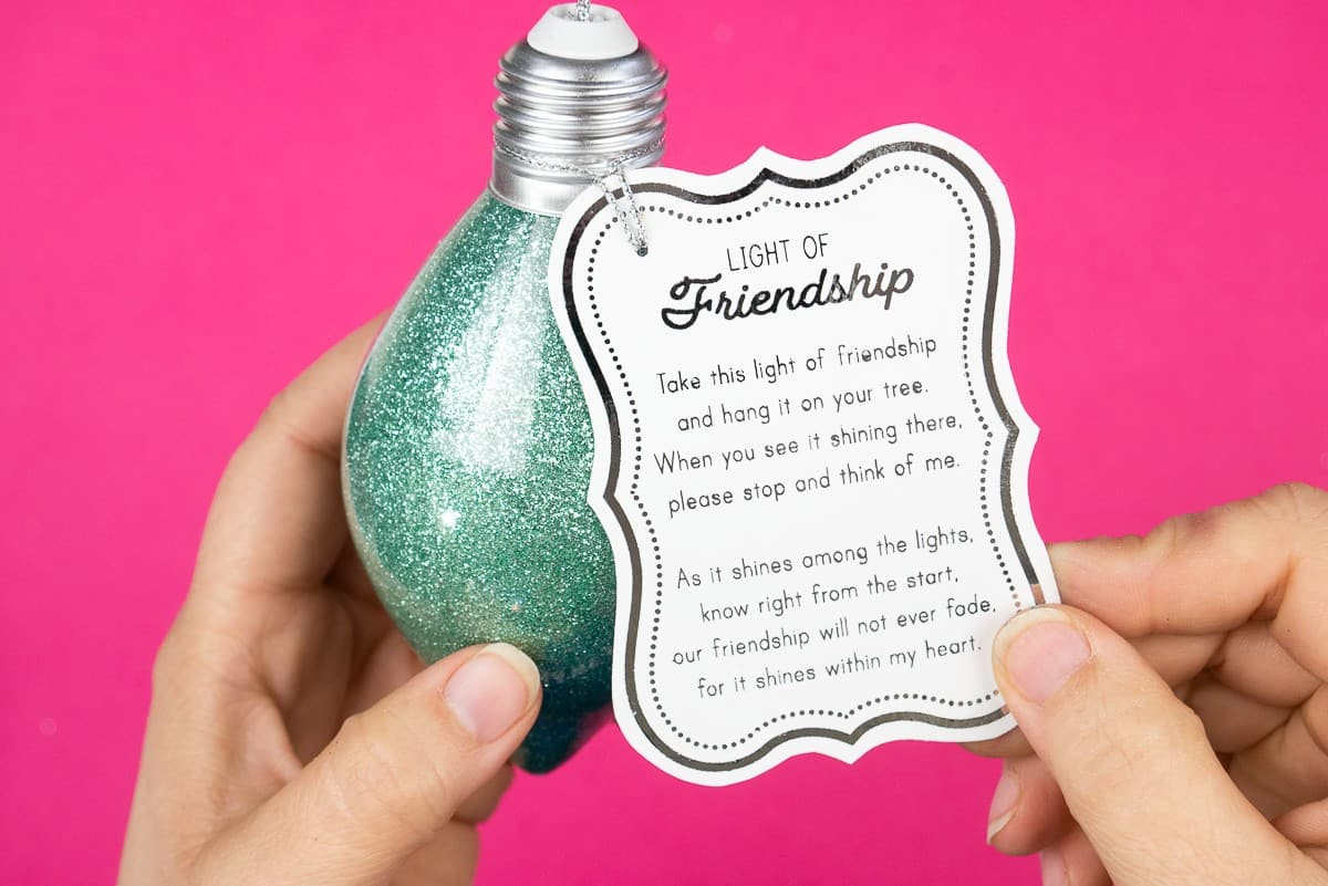Hand holding a glitter ornament with a white tag that explains the