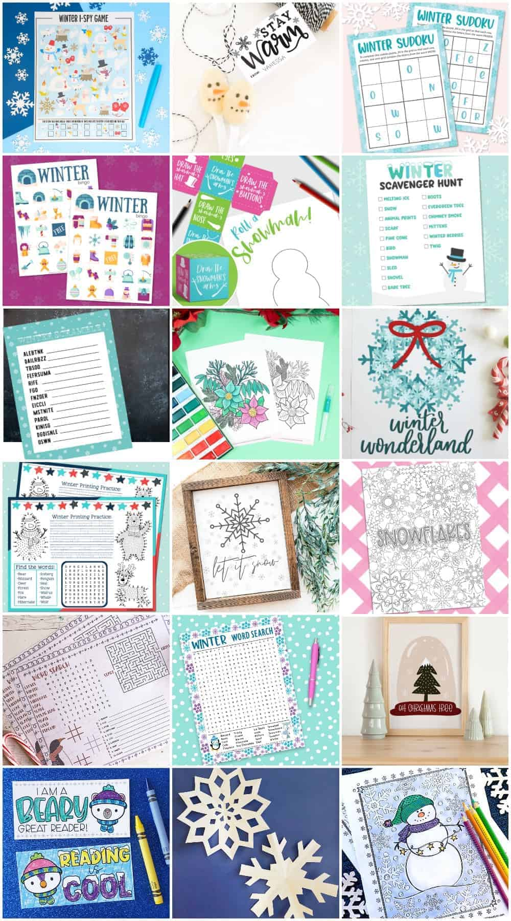 Collage of winter themed free printables.