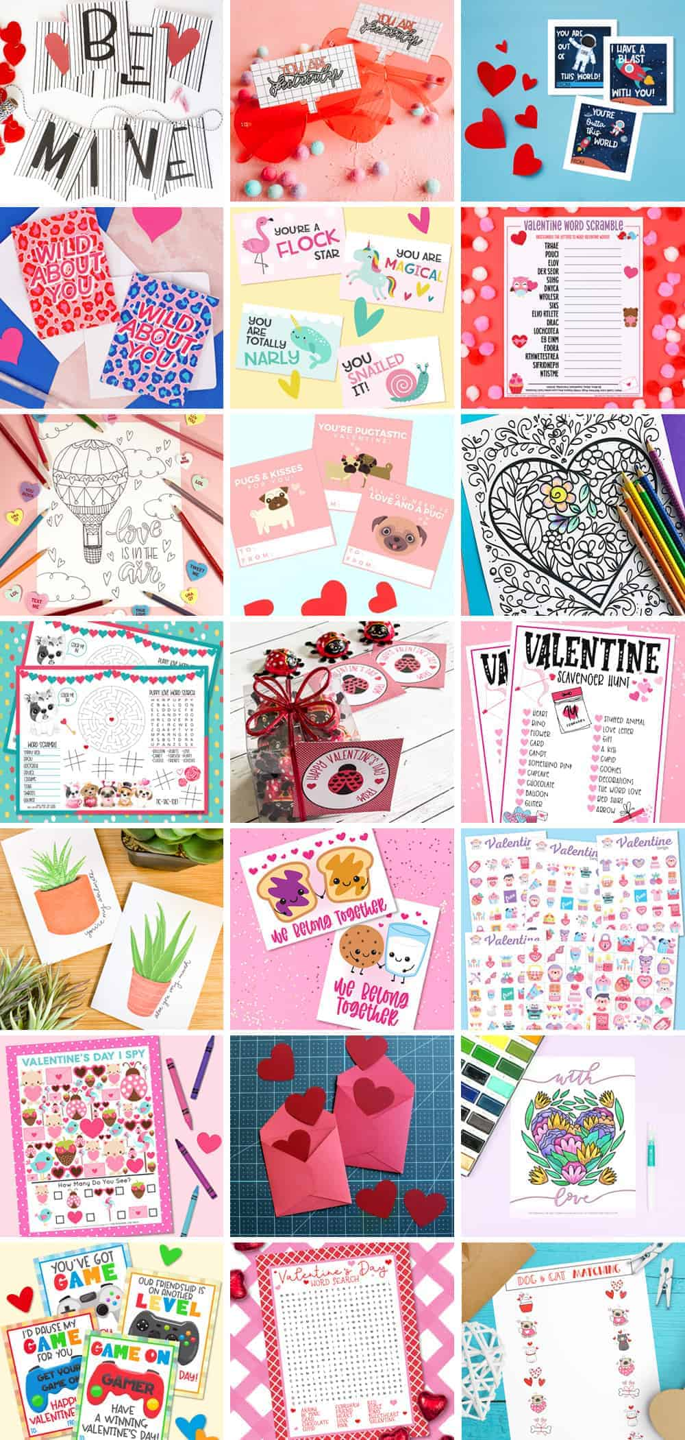 Collage of Valentine's Day Printables
