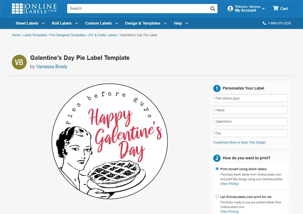 Screen shot of OnlineLabels.com's Free Galentine's Day Pie Label.