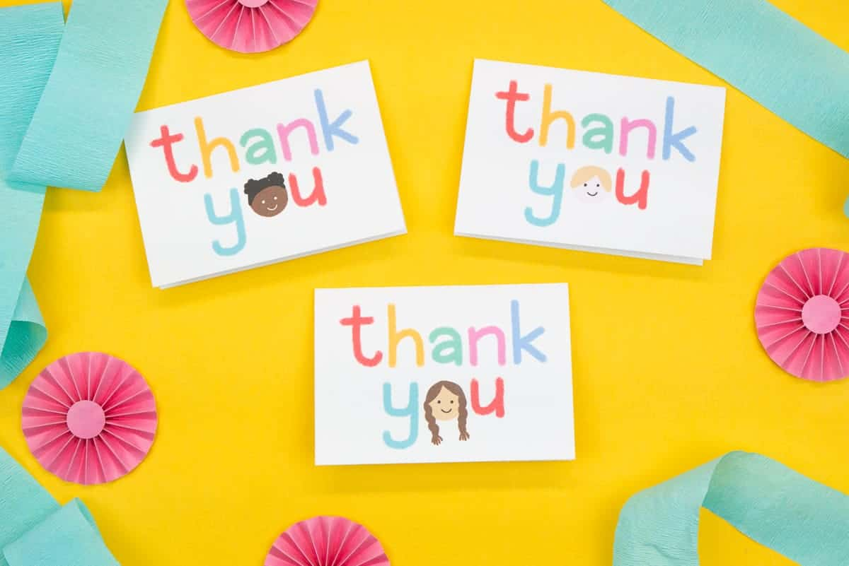 Three Multicultural Kids Thank You Cards on a yellow background.