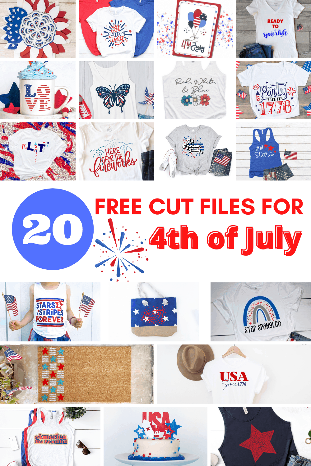Collage of 20 4th of July cut files.