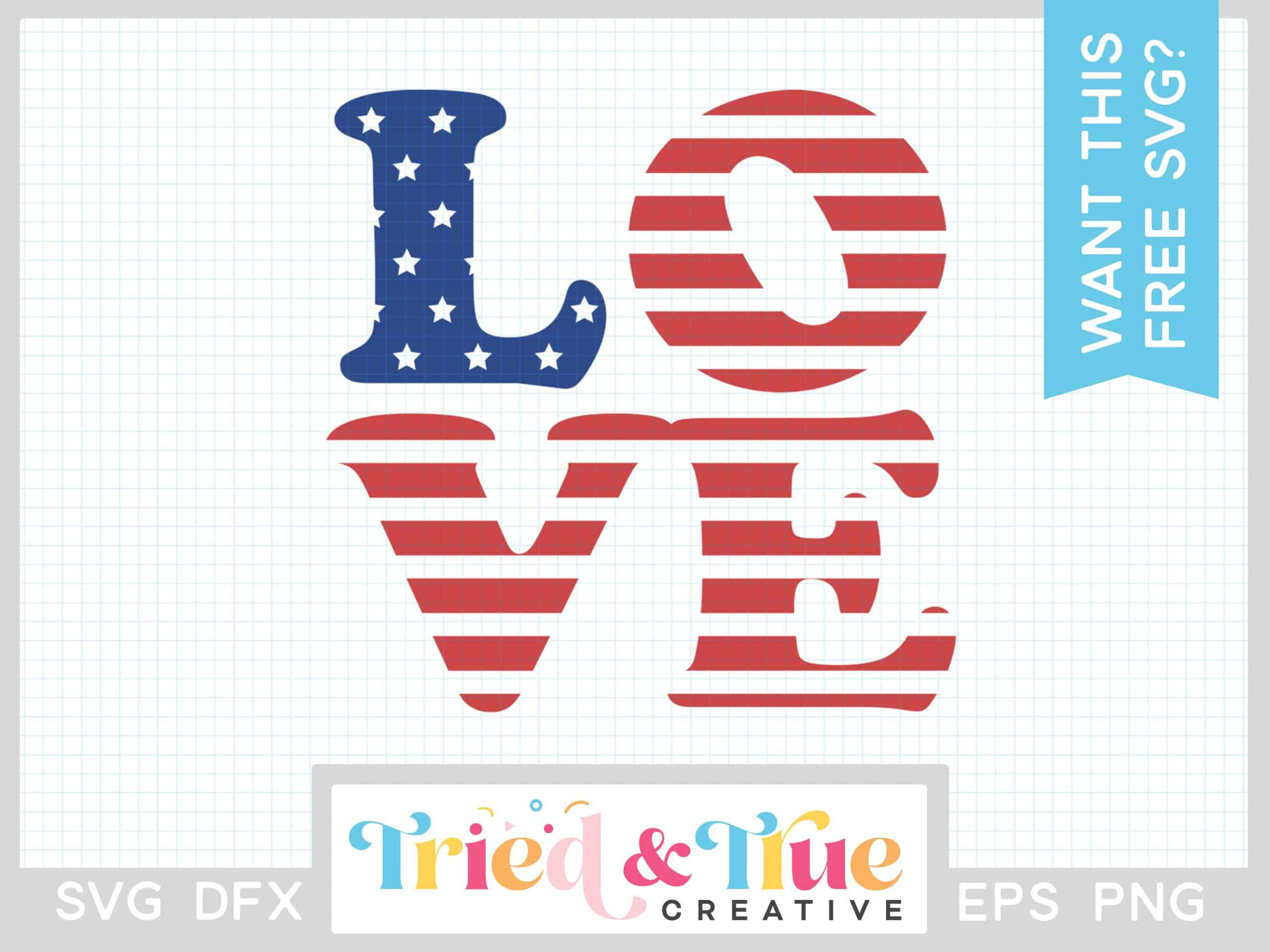 Digital image of the word LOVE in the shape of the US flag.