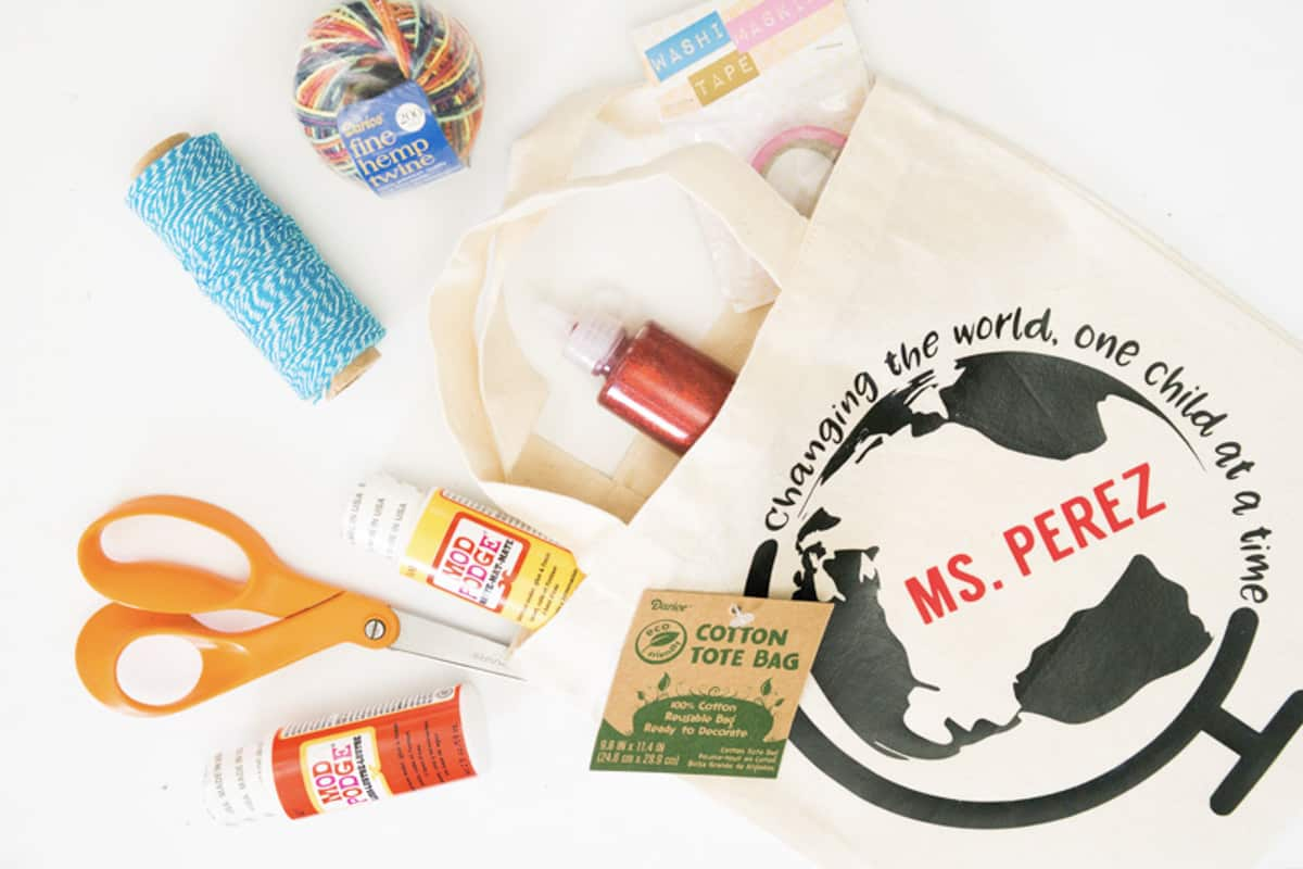Teacher back to school gift bag with craft supplies