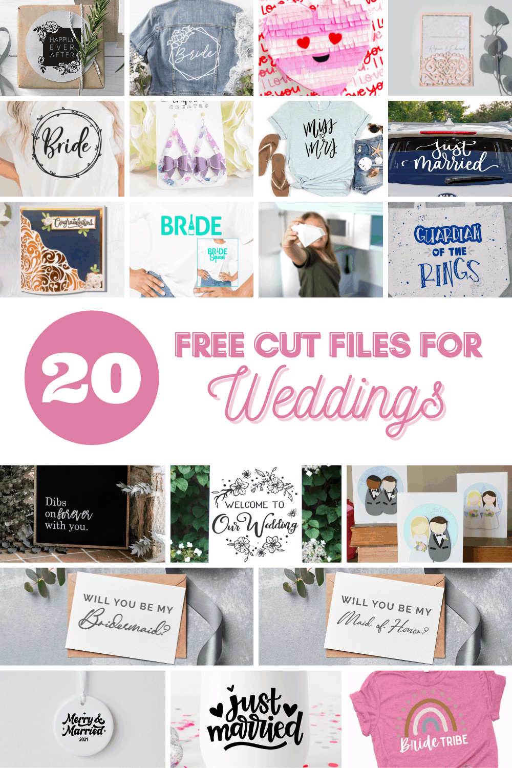 Collage of 20 free cut files for Weddings